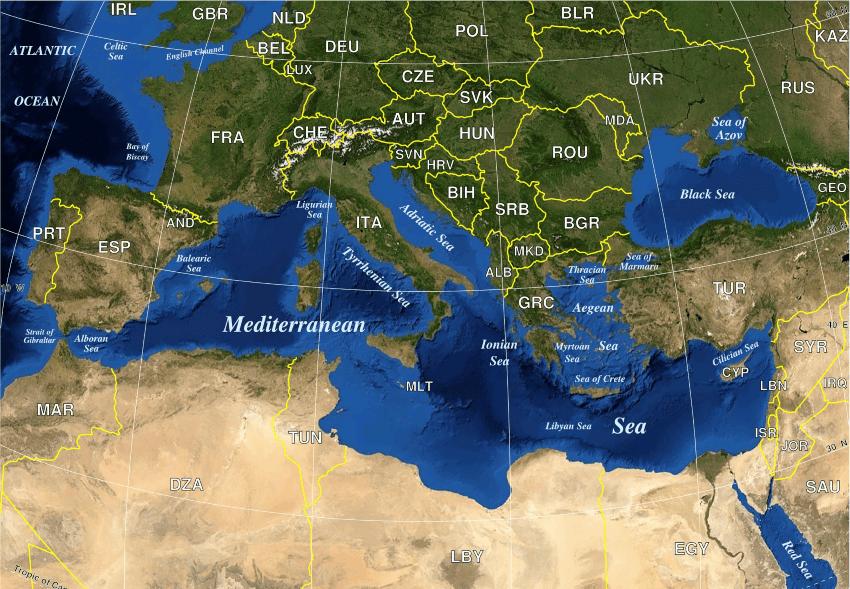 La Storia dell'Ulivo - Bacino del Mediterraneo - Cartina Geografica